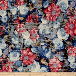 Telio Venice Stretch ITY Knit Floral Blue/Red Fabric