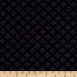 Telio Polyester Rayon Ponte Knit Lattice Black/Grey Fabric