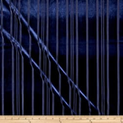 Telio Panne Stretch Velvet Stripe Navy Fabric