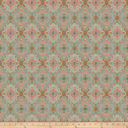 Fabricut Utter Medallion Cherry Aqua Fabric