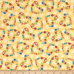 Riley Blake Arbor Blossom Hearts Yellow Fabric