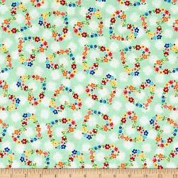 Riley Blake Arbor Blossom Hearts Green Fabric