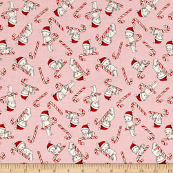 Riley Blake Kewpie Christmas Candy Cane Pink Fabric