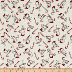 Riley Blake Kewpie Christmas Candy Cane Cream Fabric