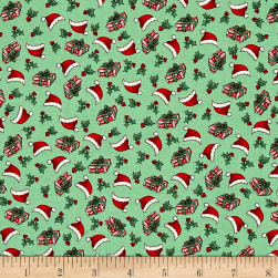 Riley Blake Kewpie Christmas Ditzy Green Fabric