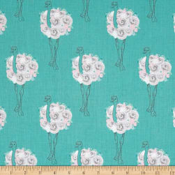 Riley Blake Curiosities Ostrich Teal Fabric