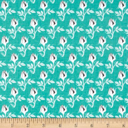 Riley Blake Curiosities Block Cut Roses Teal Fabric
