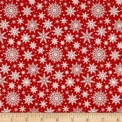 Riley Blake Comfort and Joy Snowflakes Red Fabric
