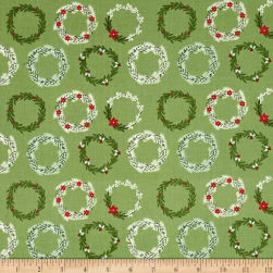 Riley Blake Comfort and Joy Wreaths Green Fabric