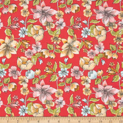 Penny Rose Linen and Lawn Lawn Main Red Fabric