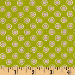 Penny Rose Linen and Lawn Circle Green Fabric