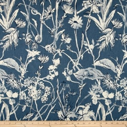 Lacefield Garden Party Linen Blend Basketweave Indigo Danish Linen Fabric
