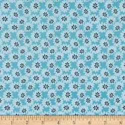 Penny Rose Linen and Lawn Daisy Blue Fabric