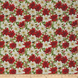 Anne of Green Gables Poinsettias White Fabric