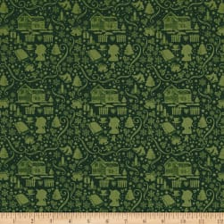 Anne of Green Gables Silhouette Green Fabric