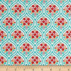 Riley Blake Forget-me-not Chain Aqua Fabric