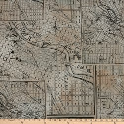 Tim Holtz Dapper Street Maps Black Fabric