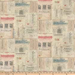 Tim Holtz Dapper Vintage Receipts Multi Fabric