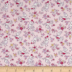Penny Rose Dolly Bonnet Birds Pink Fabric