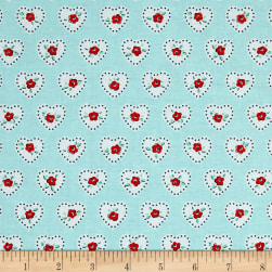 Penny Rose Dolly Hearts Blue Fabric