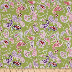 Penny Rose Coming up Roses Paisley Green Fabric
