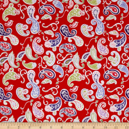 Penny Rose Coming up Roses Paisley Red Fabric