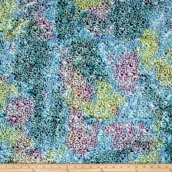 Indian Batik Spray Blue/Purple/Olive Fabric