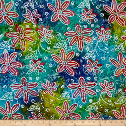 Indian Batik Floral Blue/Green/Yellow Fabric