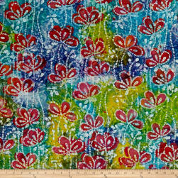 Indian Batik Floral Vine Blue/Green/Yellow Fabric