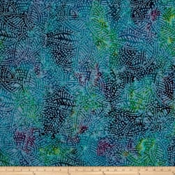 Indian Batik Leaf Dots Blue/Purple/Teal Fabric