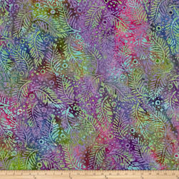 Indian Batik Fern Dots Aqua/Purple/Blue Fabric