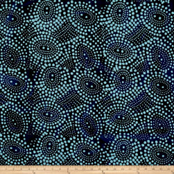 Indian Batik Abstrct Dots Blue Fabric