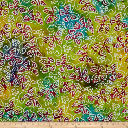 Indian Batik Butterflies Aqua/Yellow/Green Fabric