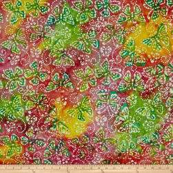 Indian Batik Butterflies Pink/Lime/Yellow Fabric