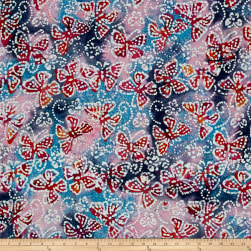 Indian Batik Butterflies Pink/Blue Fabric