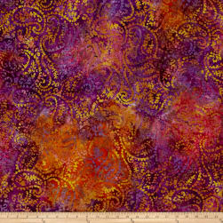 Indian Batik Paisley Purple/Wine/Brown