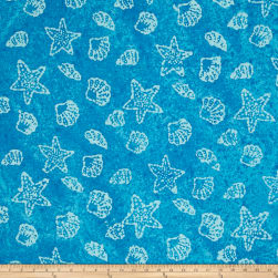 Indian Batik Shells Aqua/White
