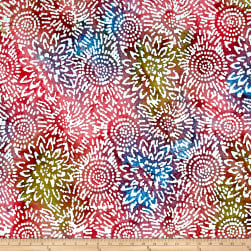 Indian Batik Sunflower Pink/Blue/Green Fabric