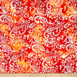 Indian Batik Paisley Orange/Yellow/Pink Fabric
