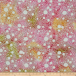 Indian Batik Large Dots Pink/Orange/Yellow Fabric