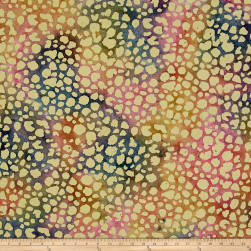 Indian Batik Dots Blue/Pink/Yellow Fabric