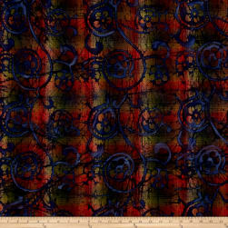 Indian Batik Woven Floral Scroll Olive/Brown/Wine Fabric