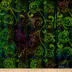Indian Batik Woven Floral Scroll Blue/Green Fabric