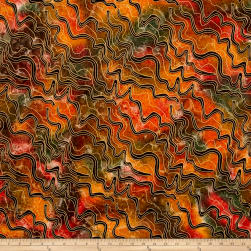 Indian Batik Metallic Zigzag Orange/Yellow Fabric