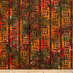 Indian Batik Metallic X'S X O'S Orange/Yellow Fabric