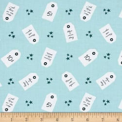 Penny Rose Five & Dine Tags Blue Fabric