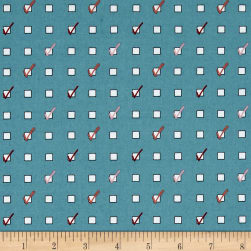 Penny Rose Five & Dine Checklist Blue Fabric