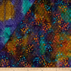 Double Face Quilted Indian Batik Dot Patch Teal/Blue/Red