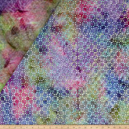 Double Face Quilted Indian Batik Dots Aqua/Purple/Blue