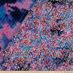 Double Face Quilted Indian Batik Butterflies Pink/Blue Fabric